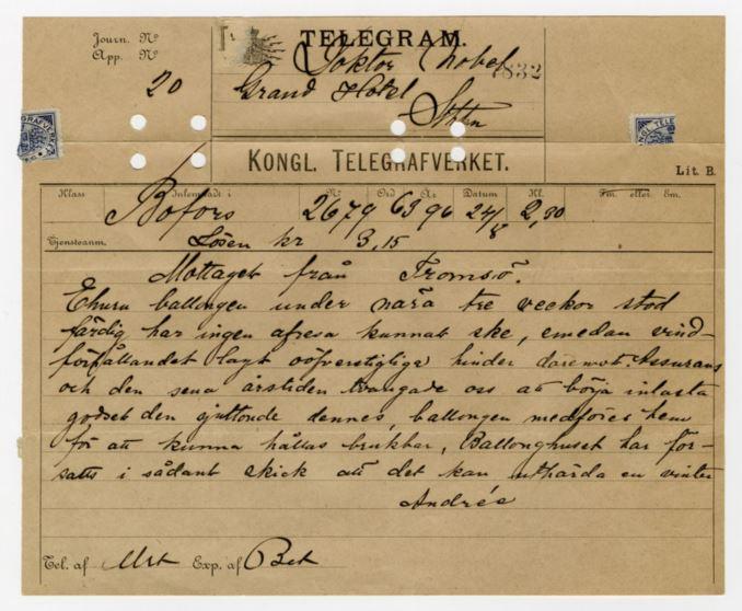 Telegram Salomon August Andrée till Nobel