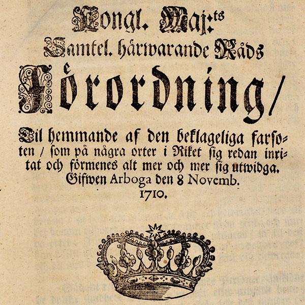 Bild på omslaget till tryckt förordning med allmänna råd under pesten 1710