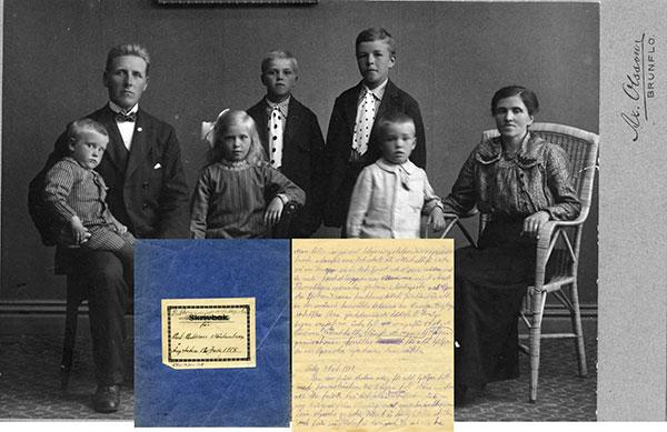 Bild föreställande familjen Karlsson Norheden samt Karls dagbok