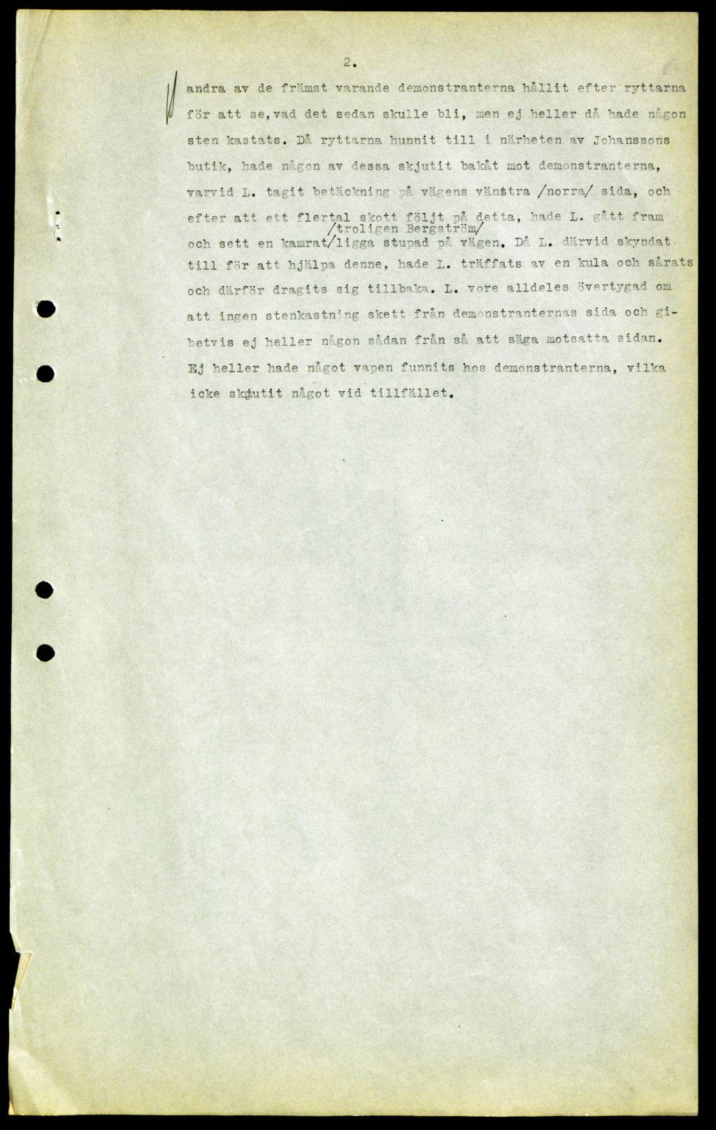 vittnesmål Ådalen 1931