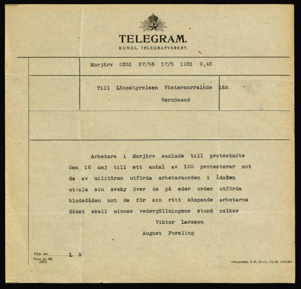 telegram efter demonstrationerna i Ådalen 1931